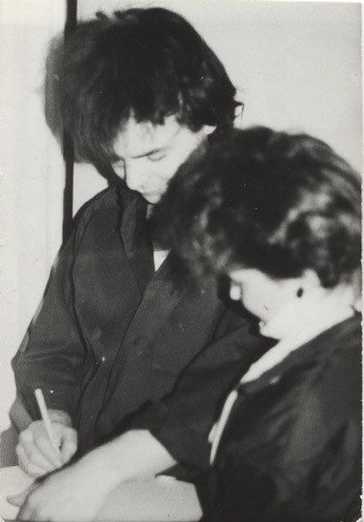 Zbyszek  Krzywanski i Anna Sztuczka podczas autoryzacji fan klubu-  z archiwum anny sztuczki