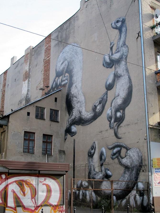 Roa (Belgia)/Łódzkie Murale fot. NajlepszePiosenki.pl